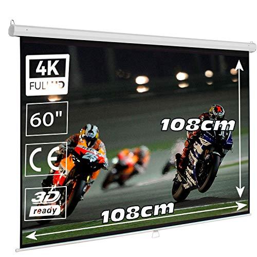 """Pantalla Manual Mural de 72"""", Dimensiones de la Tela 1,40x 1,05 Metros, cajetin de Acero 1,56 Metros, Pantalla para proyector Compatible con 4K, (72 Pulgadas)"""