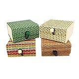 MCUILEE® Mini caja de joyería de madera de bambú, cajas de almacenamiento regalo organizador para anillo/collar/pendientes
