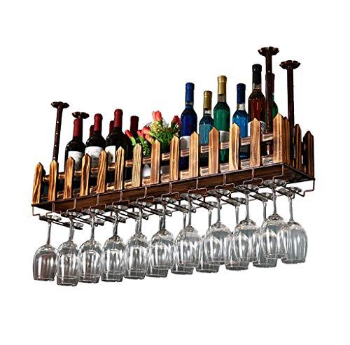 Porte-bouteilles Support de verre à vin à l'envers en bois massif Plafond suspendu Porte-bouteille à vin Designer Étagère à bouteilles de vin L-60cm (taille : 80×20cm)