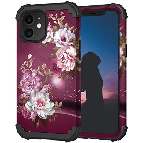 """Hocase Compatible with iPhone 11 Case, Heavy Duty Shockproof Soft Silicone Rubber Bumper+Hard Plastic Hybrid Dual-Layer Protective Case for iPhone 11 (6.1"""" Display) 2019 - Burgundy Flowers"""