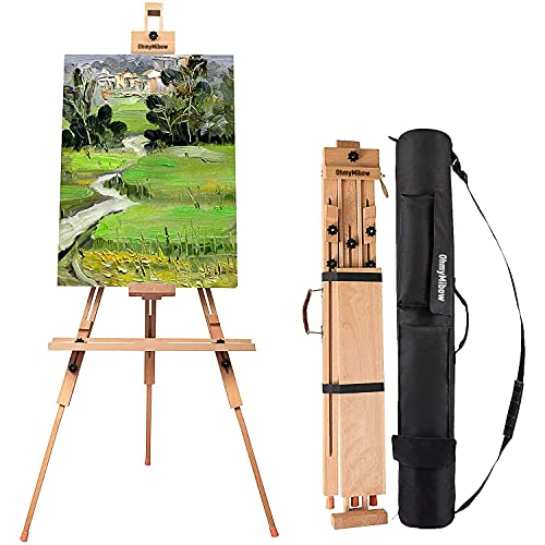 OhmyMibow Tripod Field Painting Easel with Carrying Case - Solid Beech Wood Universal Tripod Easel Portable Painting Artist Easel, Perfect for Painters , Landscape Artists, Hold Canvas up to 44'