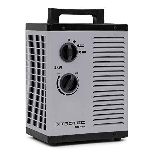TROTEC Keramik Heizlüfter Elektroheizer TDS 10 P inkl. Mehrstufen-Temperaturregelung bis 2.000 Watt (2 kW) Bauheizer mit Thermostat