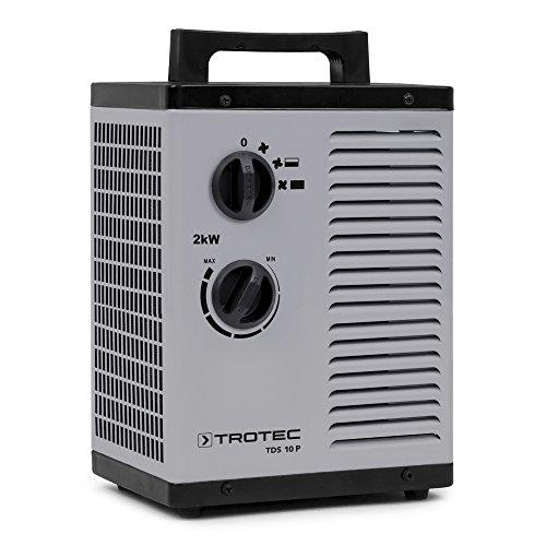 TROTEC Keramik Heizlüfter TDS 10 P Elektroheizer inkl. Mehrstufen-Temperaturregelung bis 2.000 Watt (2 kW) Bauheizer mit Thermostat