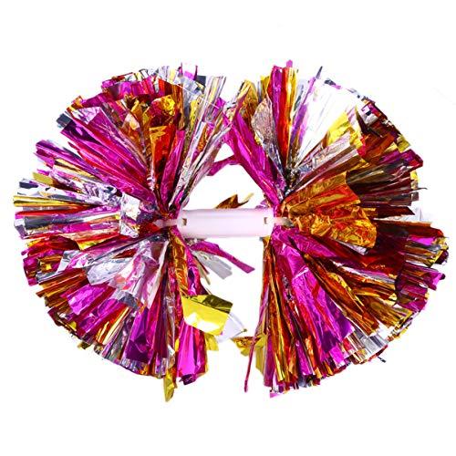 Amosfun Cheerleading Pom Poms Metallic Foil Pom Poms Balls with Baton...