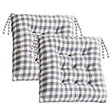 CAMAL Kitchen Chair Cushions with Ties, Set of 2 Buffalo-Checked Dining Chair Pads Seat Cushions for Kitchen Chairs, 16 x 16 inches Light Grey and White Buffalo-Plaid Christmas Decoration