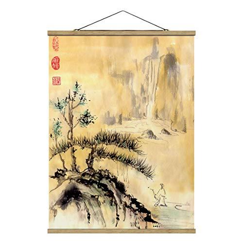 Bilderwelten Imagen de Tela - Japanese Watercolor Drawing Cedars and Mountains, 46.5cm x 35cm, Roble