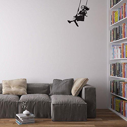 Vinyl Revolution Banksy Girl Swinging Wall Art Wandtattoo