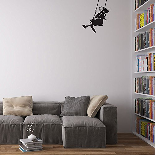 Banksy Girl Swinging Pegatina/Calcomania/Vinilo Decorativo para Paredes en el Hogar