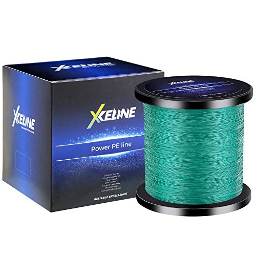 XCELINE Super Strong Braided Fishing Line 4 8 Strands Abrasion Resistant Weave Power Line 109-1094 Yds 6-150LB Zero Stretch Low Memory Thin Diameter (Green, 100M 6LB)