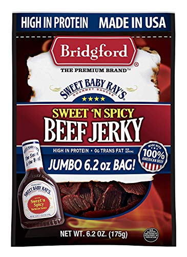 Bridgford Sweet Baby Ray's Sweet 'N Spicy Beef Jerky, High Protein, Zero Trans Fat, Made With 100% American Beef, 6.2 Oz, Pack of 3