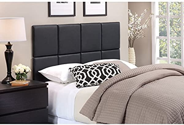 Foremost Tessa THT 61013 PU BLK TWN 46 50 Inch By 31 Inch PU With Tuft Headboard Tiles Twin Matte Black
