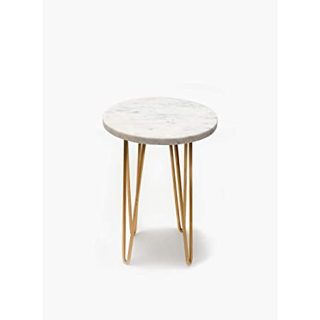 CASADECOR Marble Garden Table with Metal Accessories in Legs for Balcony, Living Room and Hallway Space Decor Outdoor Furniture (Gold, White )