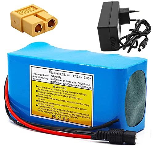 TGHY Batería de Litio para Bicicleta Eléctrica de 24V 8Ah con Cargador y BMS para Scooter Eléctrico Kart Eléctrico Paseo para Niños en Automóvil Herramientas Eléctricas de Bricolaje,Xt60
