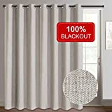 Rose Home Fashion Sliding Door Curtains, Primitive Linen Look 100% Blackout Curtains, Thermal Insulated Patio Door Curtains-1 Panel (100x84 Beige)