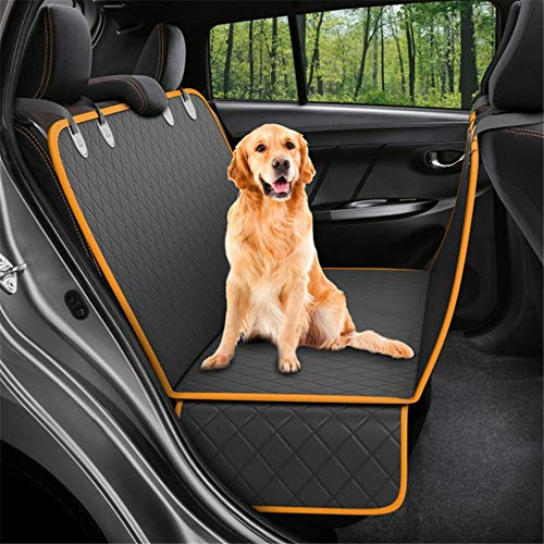 Pet Car Seat Cover, Convertible Dog Hammock Scratch Proof Pet Car Seat Cover with Mesh Window, Dog Seat Cover for Cars Trucks SUV,Orange