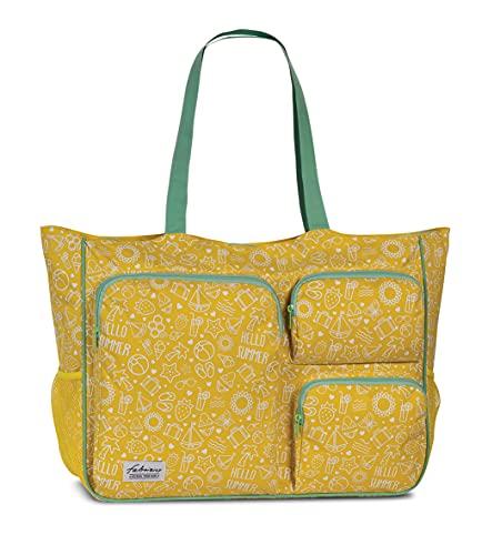 Fabrizio Strandtasche groß XXL viele Taschen Freizeittasche Urlaubstasche Sommer mit Reißverschluss (Gelb)