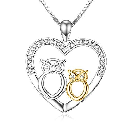 Mutter Tochter Kette 925 Sterling Silber Eule Herz Anhänger Halskette Geschenk für Mama