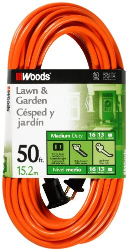 Woods 0723 16/2 SJTW General Purpose Extension Cord, Medium Duty, Ideal for Landscaping and Powering Appliances, Water Resistant Flexible Vinyl Jacket, Durable Molded Plug, 50 Foot, Orange