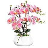 VIVILINEN Orquideas Artificiales en Maceta Flores Artificiales Plásticos Flor de Phalaenopsis...