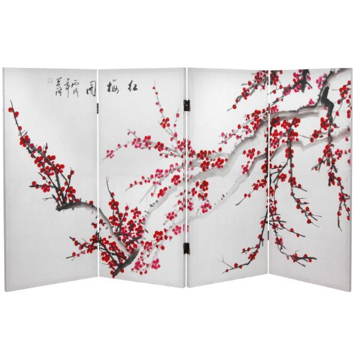Oriental Furniture 3 ft. Tall Double Sided Plum Blossom Canvas Room Div