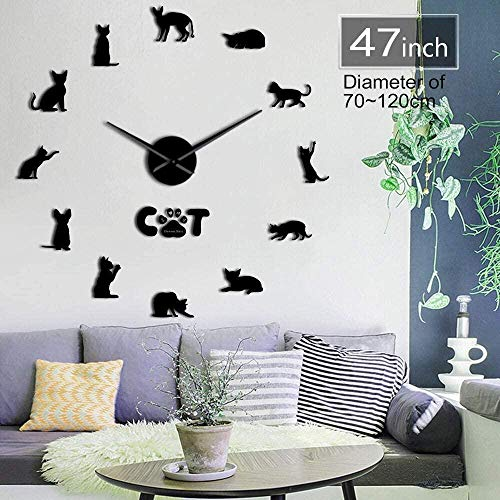 CCJIANI 3D Cat Wall Clock Sticker Devon Rex Precise Silent Wall Clock DIY for Home/Office/Hotel_Black-37 inches