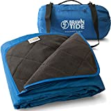 Brawntide Large Outdoor Waterproof Blanket - Quilted, Extra Thick Fleece, Warm, Windproof, Includes Stuff Sack, Ideal for Stadiums, Sports, Camping, Picnics, Beaches, Yoga, Pets, Dogs (Royal Blue)