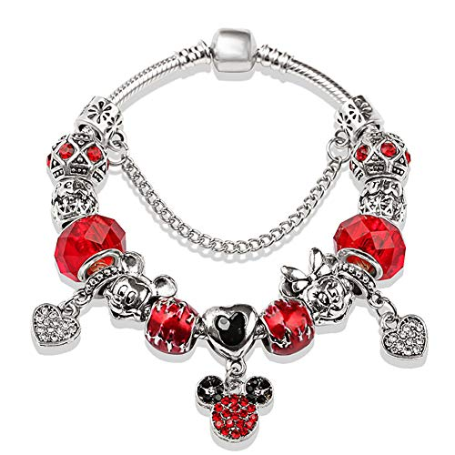 Comet Red Crystal Bracelet Ladies Sapphire Crystal Beaded Bracelet Fashion Mickey Mouse Pendant Diy Ancient Silver Simple Bracelet Accessories 2 Styles