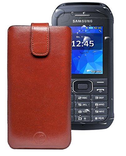 Favory ® Etui Tasche für / Samsung Xcover 550 (SM-B550H) / Leder Handytasche Ledertasche Schutzhülle Hülle Hülle *Lasche mit Rückzugfunktion* braun