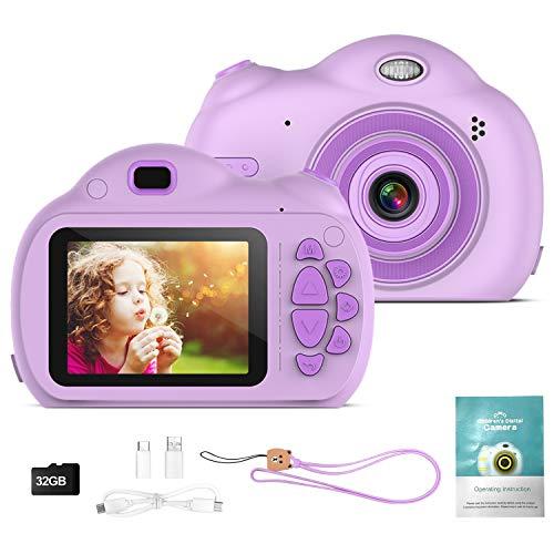 Digitalkamera für Kinder, 1080P Kinder Videokameras mit 32GB SD Karte für Jungen und Mädchen, Kinder Kreativer DIY Camcorder für Geburtstags/Weihnachts/Neujahrs Spielzeuggeschenke