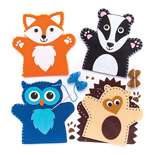 Baker Ross Woodland Animal - Kit De Costura para Marionetas De Mano (4 Unidades), Multicolor (Ar637)