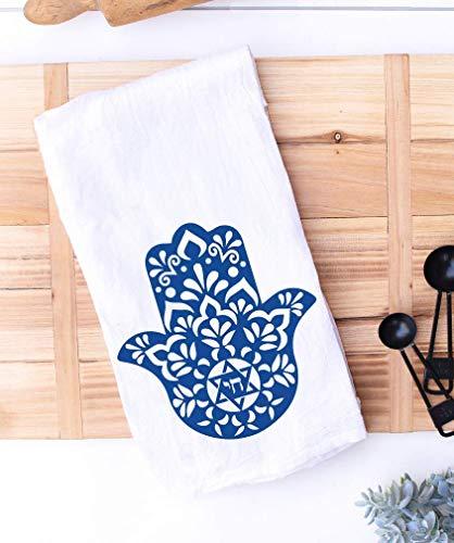 Blue Hamsa Chai Kitchen Towel   Jewish Kitchen Decor   Housewarming New Home Hostess Gift   Passover   Hanukkah   Shabbat Challah Proofing