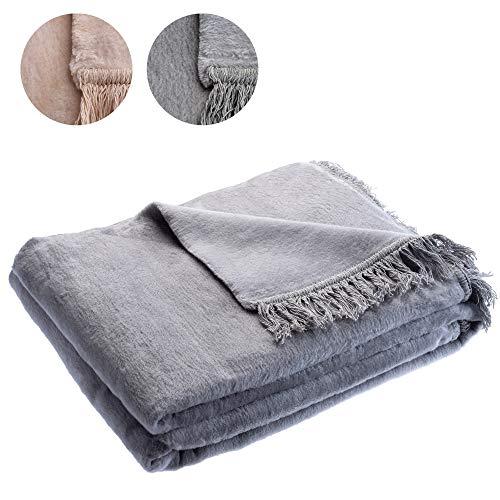 KADAX Kuscheldecke, weiche Wohndecke mit Fransen, 150 x 200 cm, Sofadecke, Couchdecke, warme Decke für Couch, Bett, Tagesdecke aus Baumwolle, Acryl, pflegeleicht (grau)