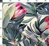 Tropisch, Vintage, Blumen, Olivgrün, Rosa Stoffe -