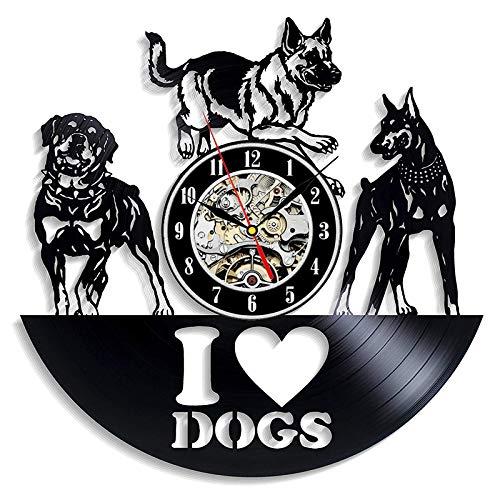 YZJYB Vinilo Pared Reloj con Registro Patrón De Perros De Registro De Tema 30CM Reloj Cuarzo Silencioso Modernos Decoración De Habitación Unica Regalo para Amantes De Los Perros