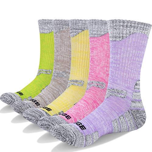 YUEDGE 5 paar Wandersocken Trekkingsocken für Damen Atmungsaktiv Sportsocken Hochleistung, Gelb/Khaki/Lila/Rosa/Grün, L (Damen Schuh 35,5-40,5 EU Größe)