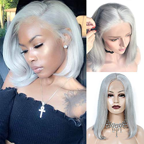 13x4 Short Bob Wig Brazilian Lace Front Wigs Human Hair for Black Women with Baby Hair Pre Plucked Middle Part Colored Grey Lace Wigs 150% Density Full End 14inch