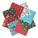 Tacobear 8 Pezzi 50cm x 50cm Tessuto di Cotone di Natale Quadrato Mimetico Tessuto Patchwork Panni in Cotone per Patchwork Fai da Te per Cucito Artigianato Accessori