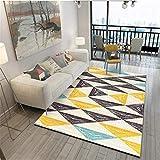 WJTHH Alfombra moderna tradicional para dormitorio, pintura al óleo, amarillo, negro, beige, triángulo, alfombra de salón, 160 x 230 cm