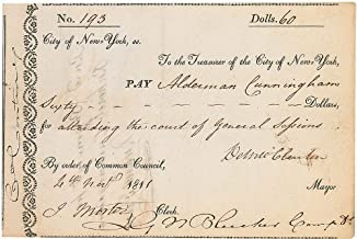 Governor Dewitt Clinton - Document Signed 11/04/1811 co-signed by Garrett Noel Bleecker