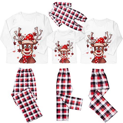 Christmas Pajamas for Family Plaid Reindeer Elk Family Christmas PJS Matching Sets Women Men Kids Baby Loungewear (White, Kids/9-10 Years)