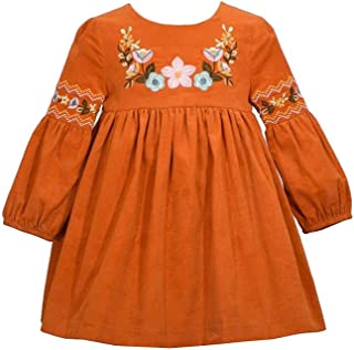 Bonnie Jean Girl's Thanksgiving Dress - Orange Corduroy Harvest Dress for Baby Toddler and Little Girls