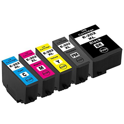 Tito-Express PlatinumSerie 5X Tinten-Patrone XXL passend zu Epson 202XL 202 XL   Kompatibel mit Expression Premium XP 6000 XP6000 6005 XP6005 6100 XP6100 6105 XP6105   Black 16ml, Color je 10ml