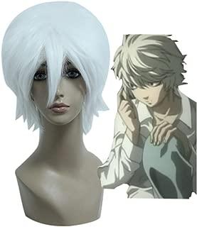 Mcoser 30CM Short Anime Gin Tama/DEATH NOTE-Sakata Gintoki/Near Cosplay Wig (White)