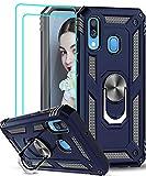 LeYi Funda Samsung Galaxy A40 con [2-Unidades] Cristal Vidrio Templado,Armor Carcasa con 360 Grados Anillo iman Soporte Hard PC y Silicona TPU Bumper Antigolpes Case para Movil A40,Azul