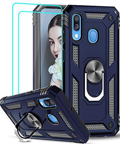 LeYi für Samsung Galaxy A40 Hülle mit Panzerglas Schutzfolie(2 Stück),360 Grad Ring Halter Handy Hüllen TPU Stoßdämpfung Cover Magnetische Case Schutzhülle für Handyhülle Samsung Galaxy A40 Dunkelblau
