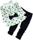 BomDeals Baby Girl Cute 2pcs Set Children Clothes Suit Top and Pants (Age(4T), Green)
