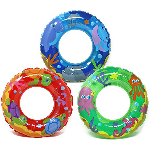 com-four® 3X Schwimmreifen - Kleiner Schwimmring für Badespaß - Kinderschwimmreifen mit verschiedenen Tier-Motiven [Auswahl variiert] (003 Stück - Ø 44cm Tiere)