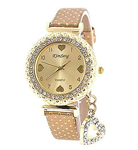 OMMO LEBEINDR Reloj del Cuarzo de Las señoras del Reloj de Las Mujeres con Acero Inoxidable Reloj Pulsera Goldenfor