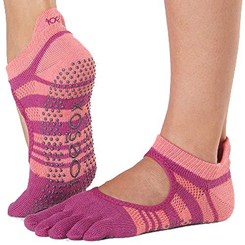 Toesox Grip Pilates Barre Socks-Non-Slip Bellarina Full Toe Yoga & Ballet Calcetines, Mujer