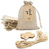SumDirect 20pcs 5x7inch Brown Burlap Gift Bags, Favor Jewelry Pouches with Drawstring for Christmas,...